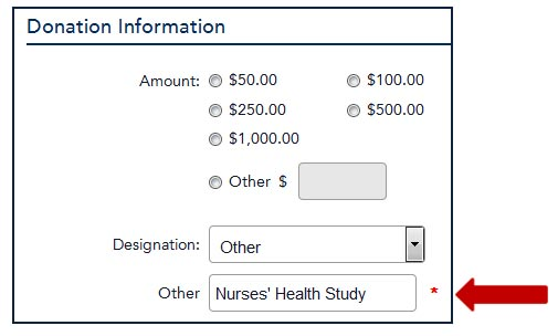 Image showing donation module and where to indicate the donation is intended for Nurses' Health Study
